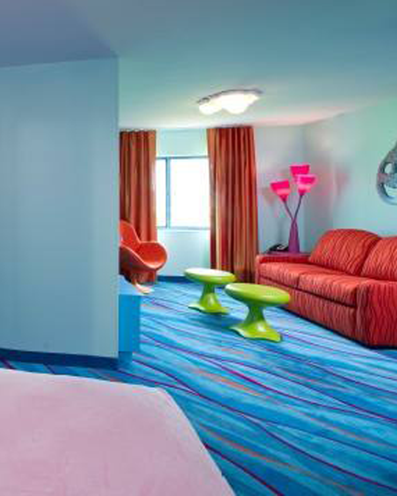 Blue Hotel Room Carpeting